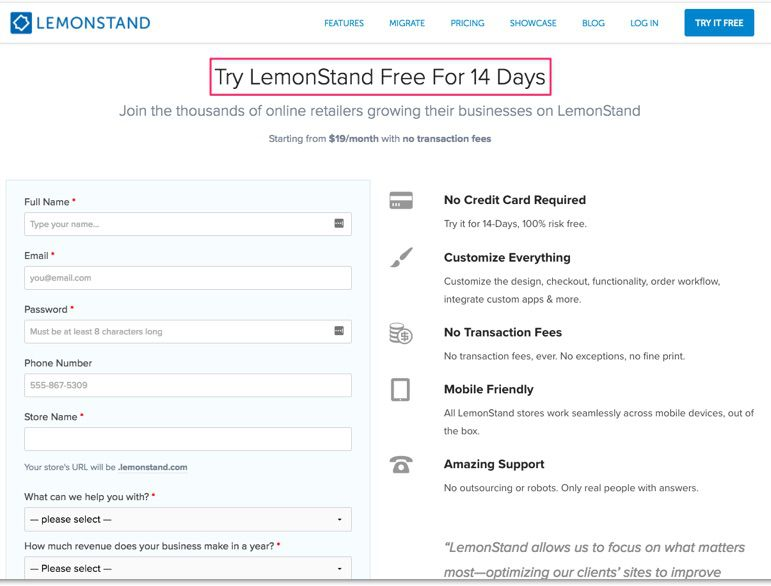 Lemonstand cho phép khách hàng có 2 tuần dùng thử sản phẩm