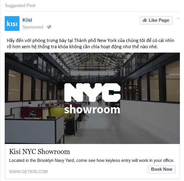 Bài đăng quảng cáo trên Facebook của Kisi