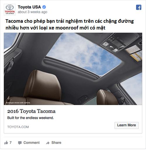 Quảng cáo trên Facebook của Toyota