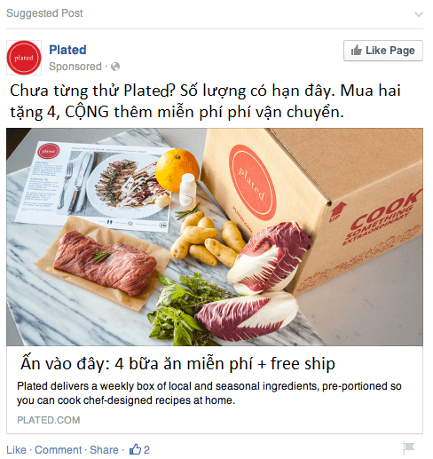 Quảng cáo của Plated sử dụng phương pháp triển khai ưu đãi cho khách hàng