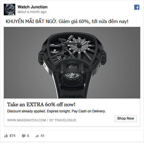 Quảng cáo của Watch Junction trên Facebook về khuyến mãi bất ngờ cho khách hàng