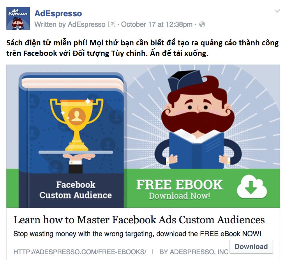 Quảng cáo sách điện tử miễn phí nhằm tạo dựng niềm tin với khách hàng trên Facebook của AdEspresso