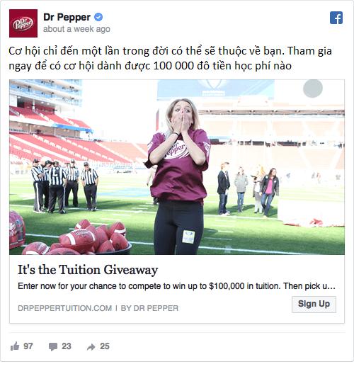 Quảng cáo trên Facebook của Dr Pepper